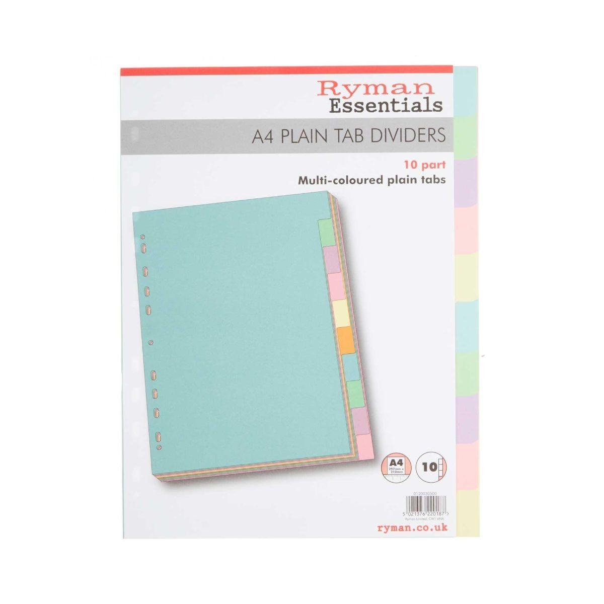 Ryman Pastel 10 Part Dividers A4 Plain