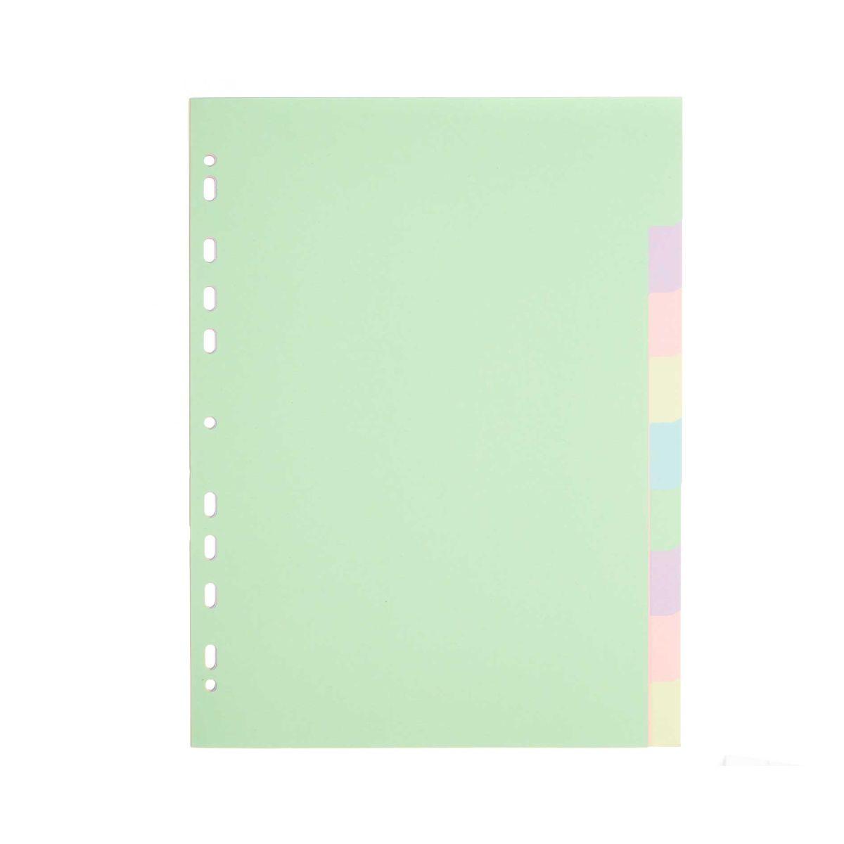 Ryman 10 Part Dividers A4 Plain Pack Of 2 Pastel