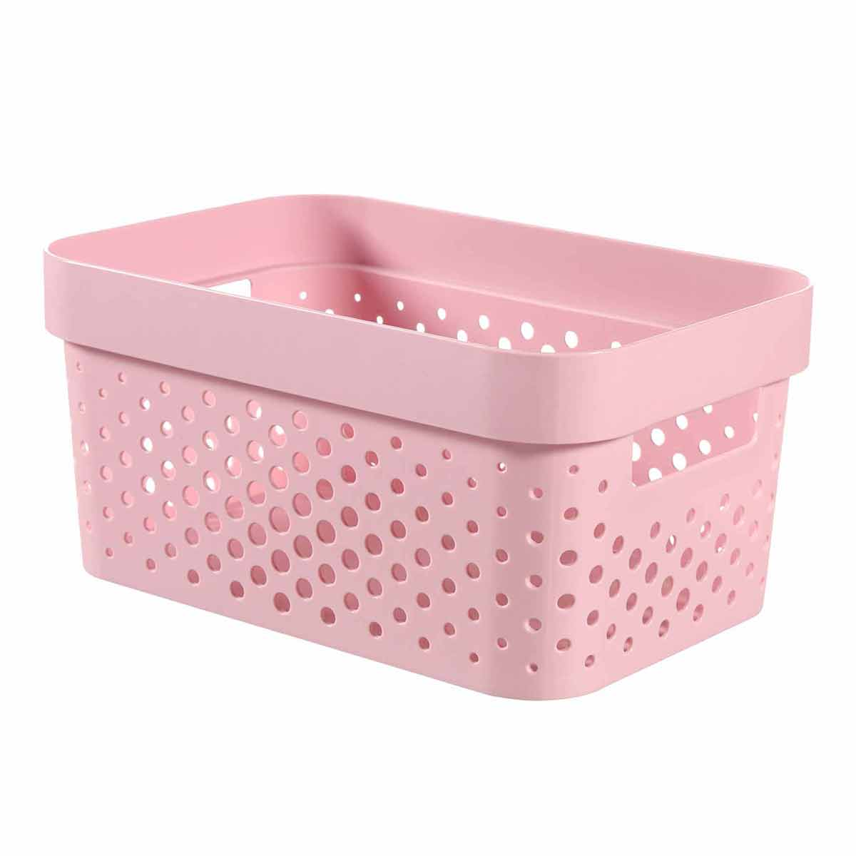 Curver Infinity Recycled Storage Basket 4.5 Litre, Pink