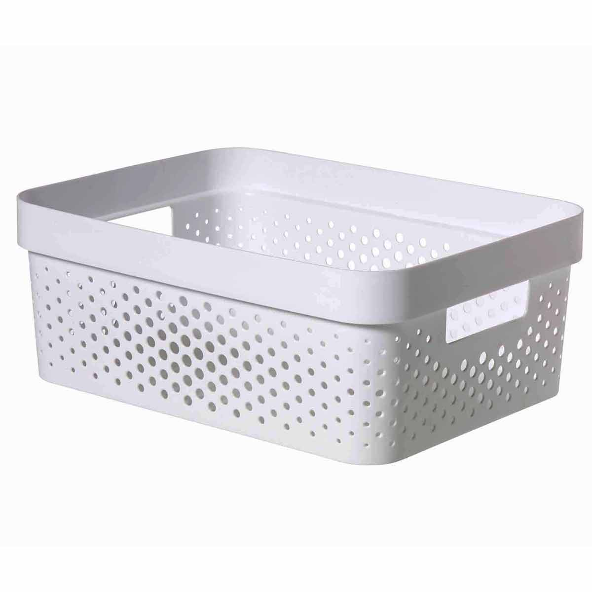 Curver Infinity Recycled Storage Basket 11 Litre, White