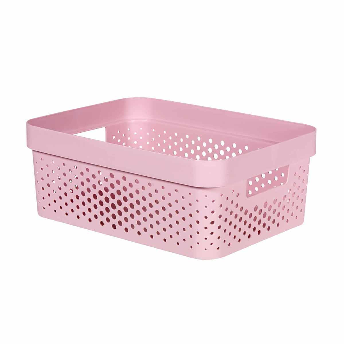 Curver Infinity Recycled Storage Basket 11 Litre, Pink