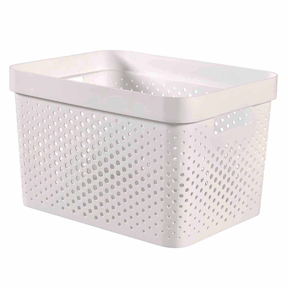 Curver Infinity Recycled Storage Basket 17 Litre, White