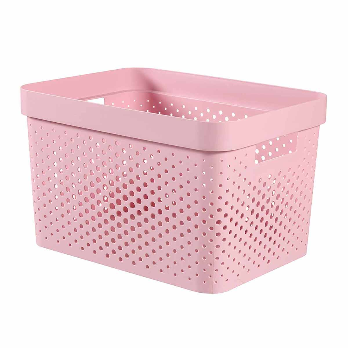 Curver Infinity Recycled Storage Basket 17 Litre, Pink