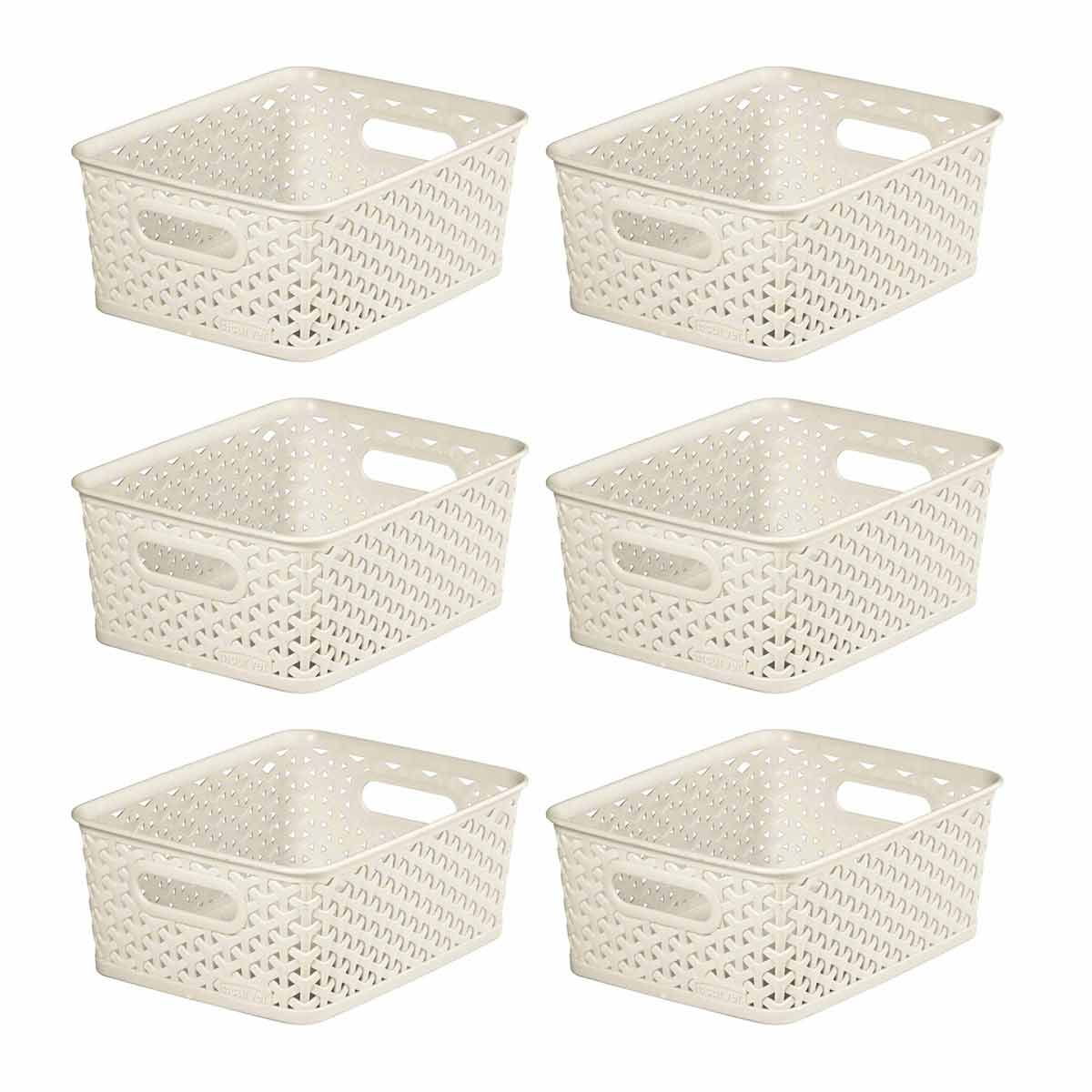 Curver My Style Storage Basket 8 Litres Pack of 6, Cream