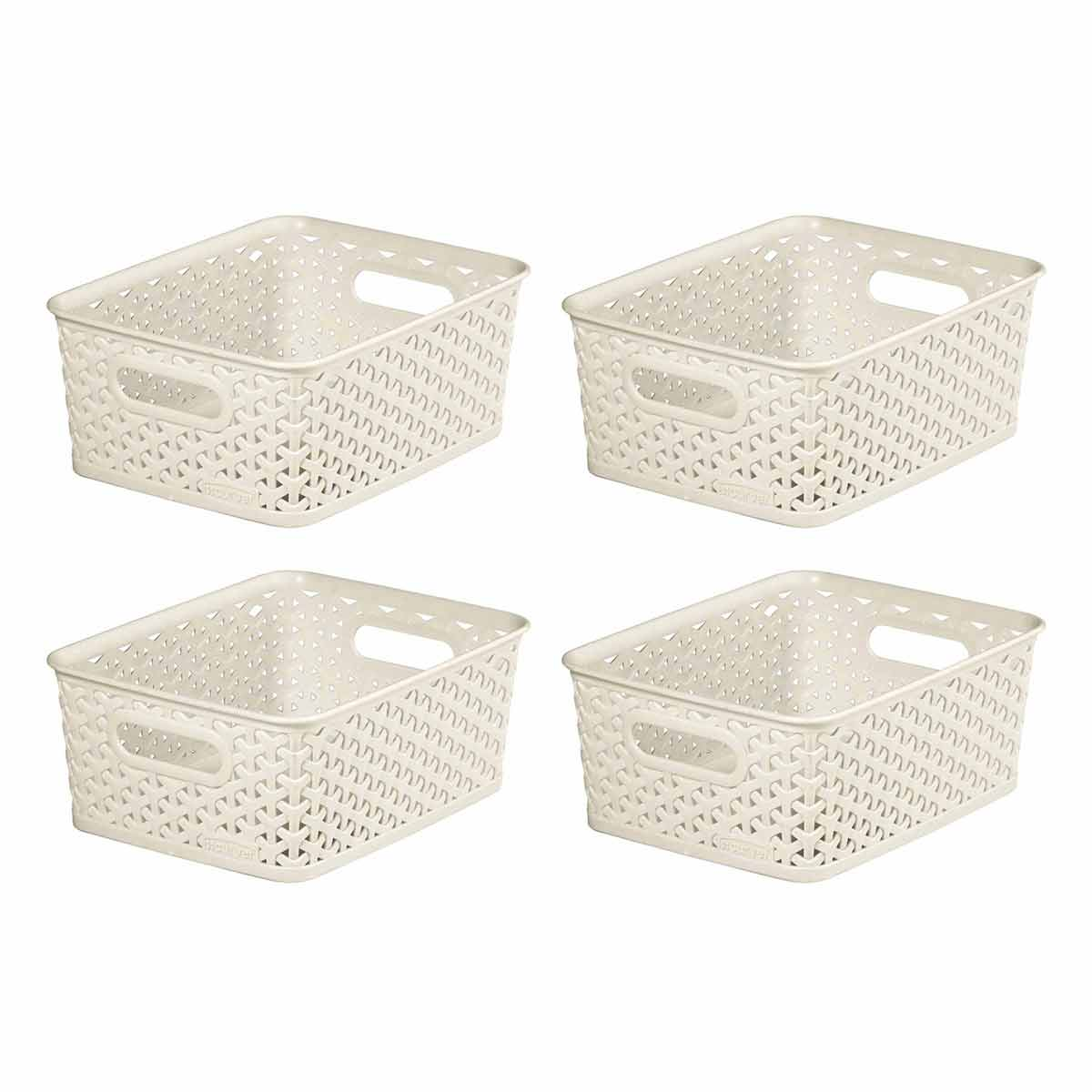 Curver My Style Storage Basket 13 Litres Pack of 4, Cream