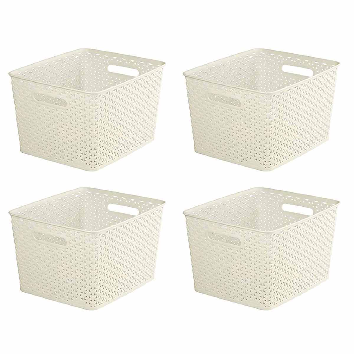 Curver My Style Storage Basket 18 Litres Pack of 4, Cream