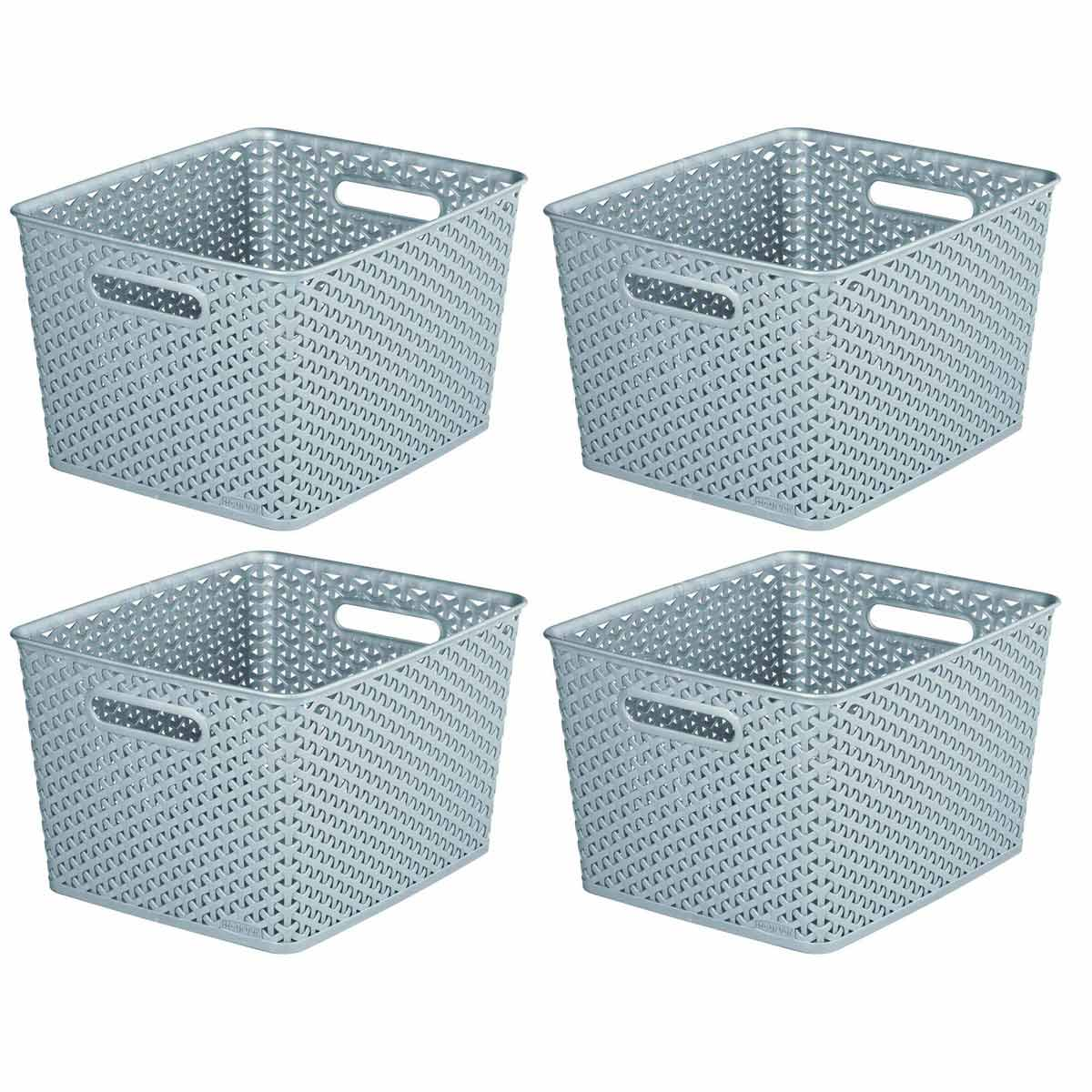 Curver My Style Storage Basket 18 Litres Pack of 4, Grey