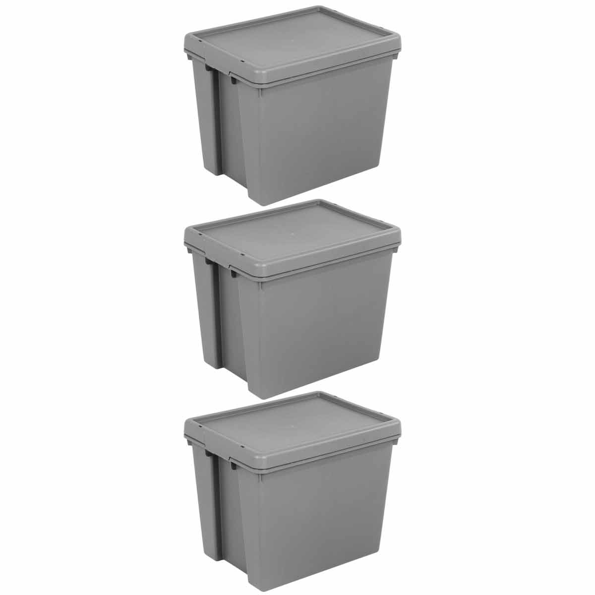 Click to view product details and reviews for Wham Bam Recycled Storage Boxes 24 Litre Pack Of 3 Grey.