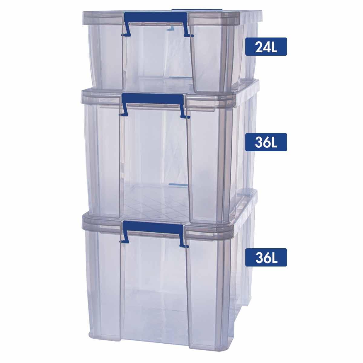 Image of ProStore Storage Box Bonus Pack 3 96L Capacity, Clear
