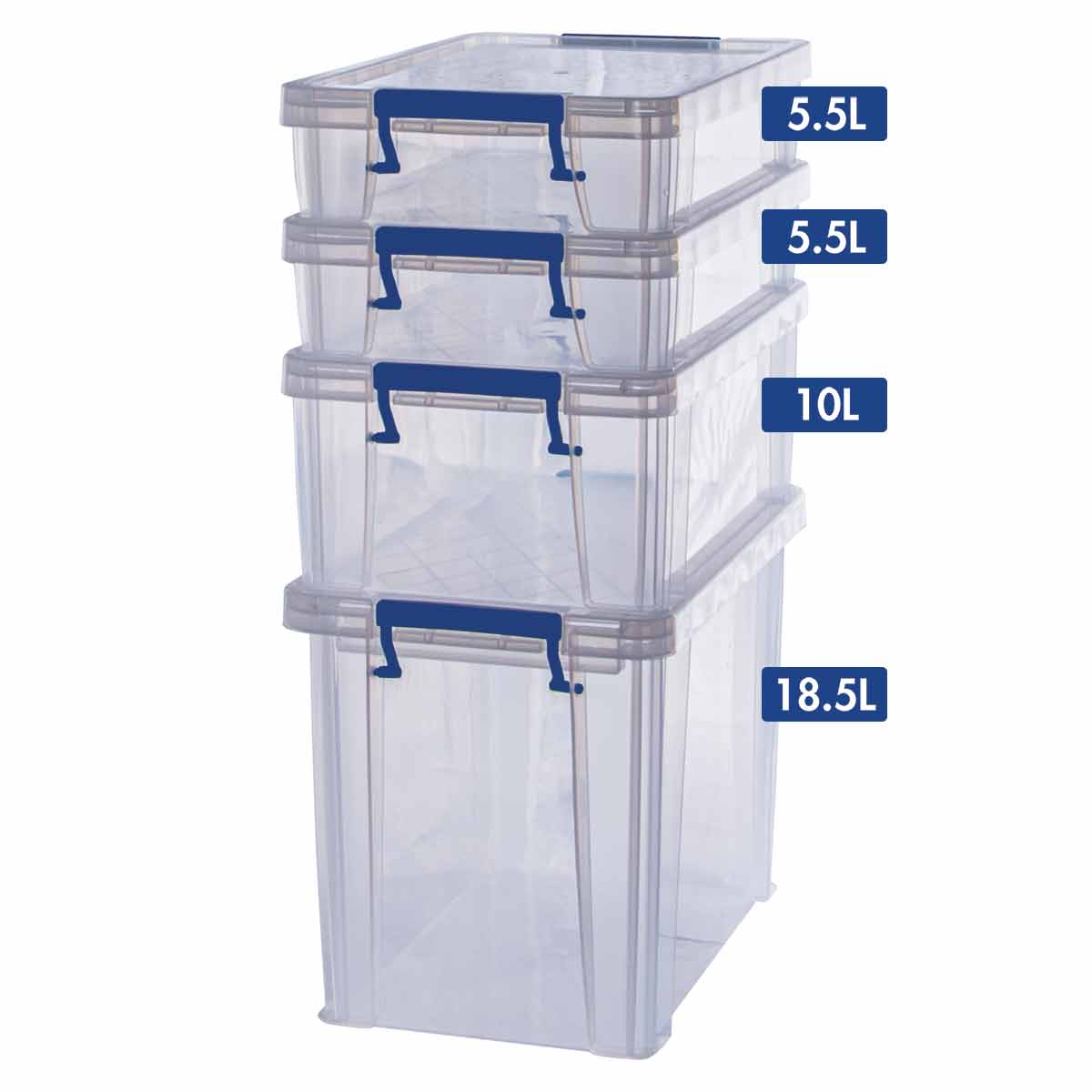Image of ProStore Storage Box Bonus Pack 5 39.5L Capacity, Clear