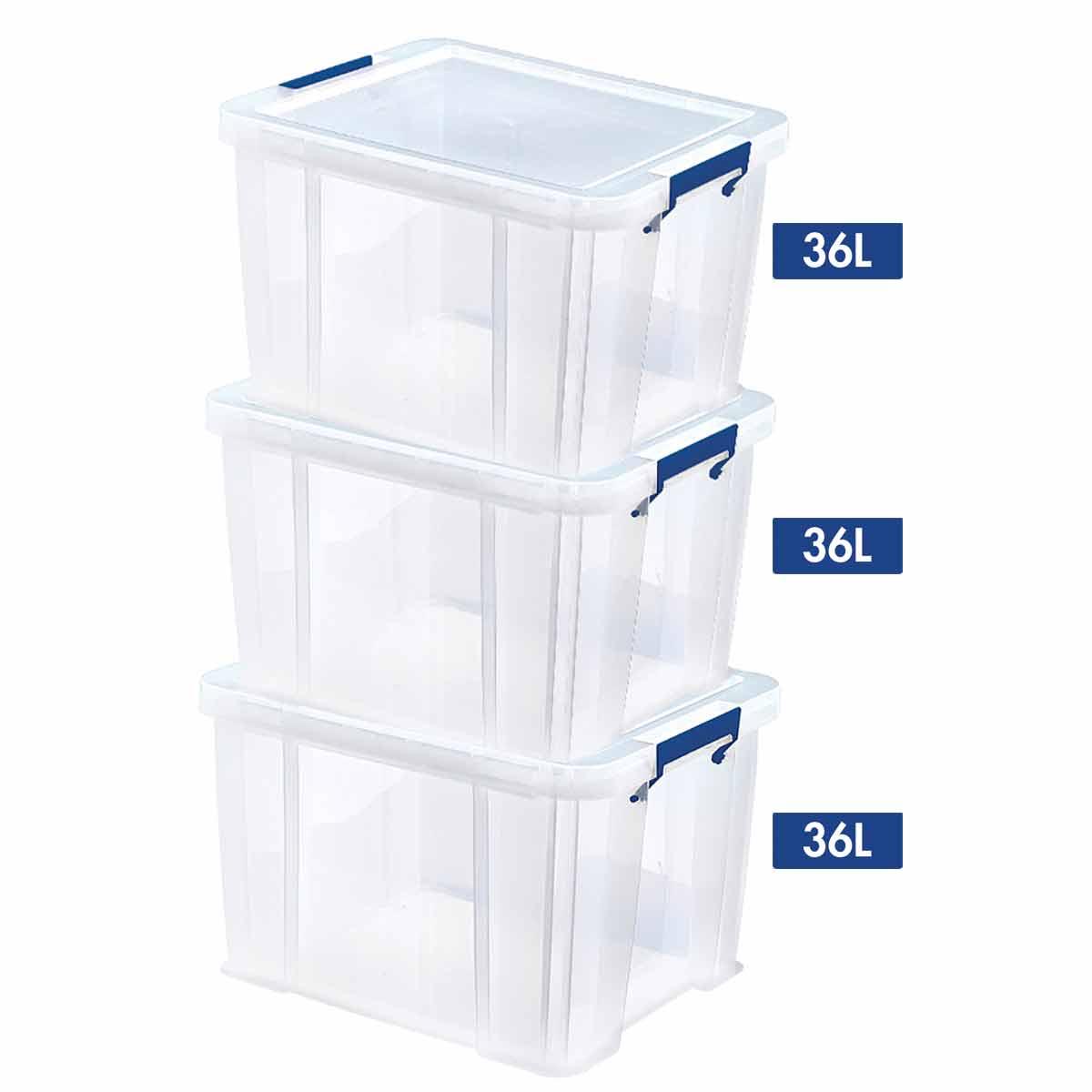 Image of ProStore Storage Box Bonus 36L pack of 3, Clear