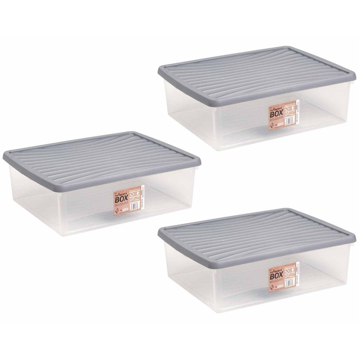 Click to view product details and reviews for Wham Plastic Storage Boxes 235 Litre Pack Of 3 Clear With Grey Lid Clear.