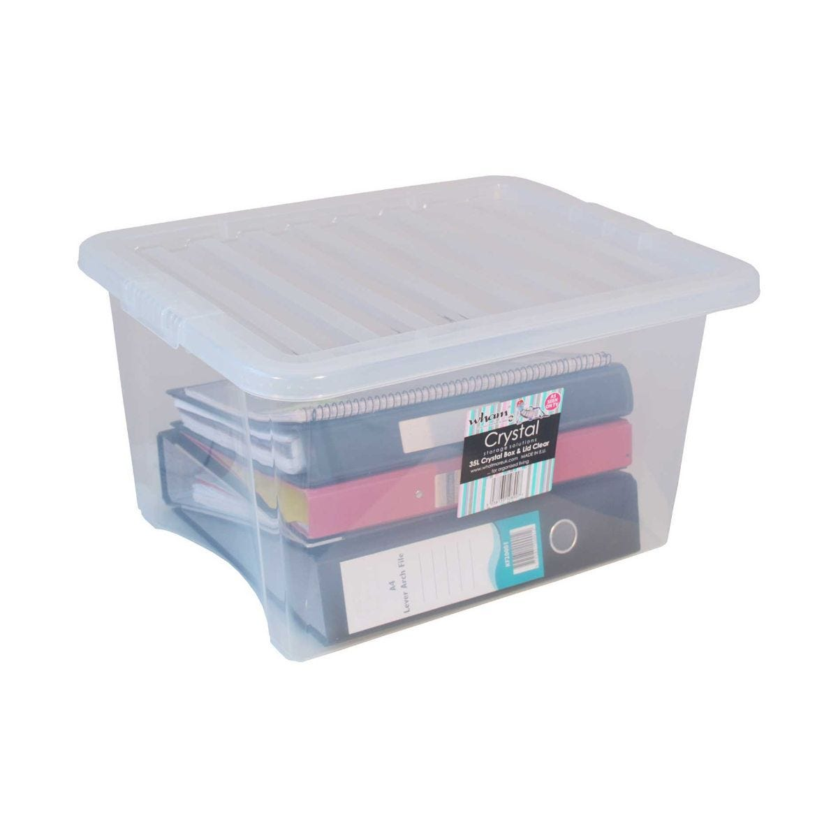 Image of 35 Litre Crystal Storage Box and Lid Pack of 10