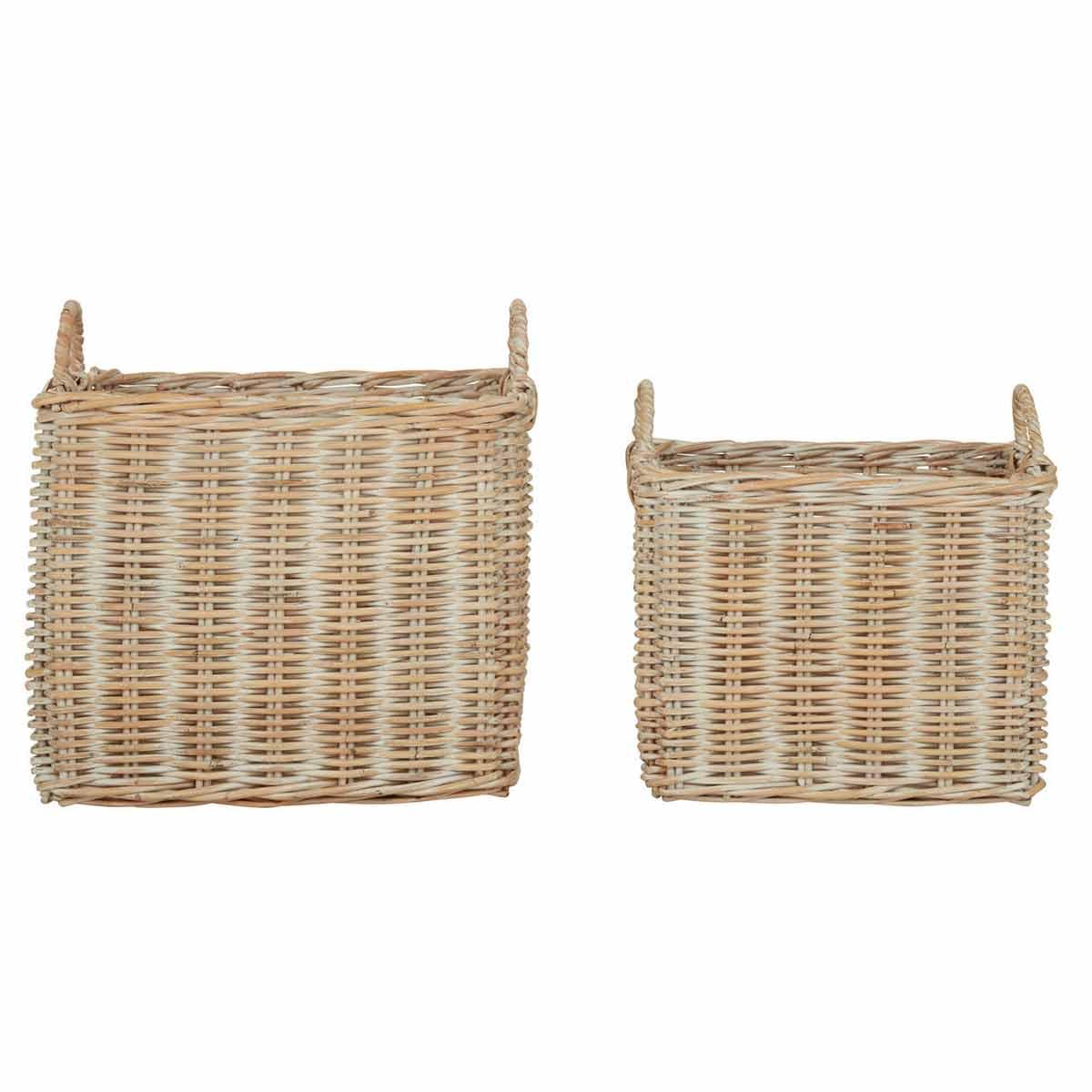 Argento Storage Baskets Whitewash Set of 2, White