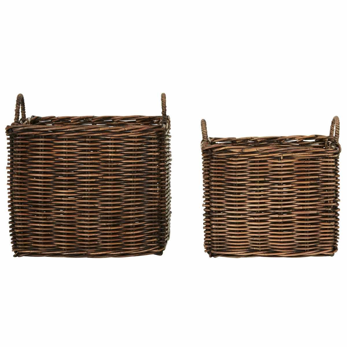 Argento Storage Baskets Antique Brown Set of 2, Brown