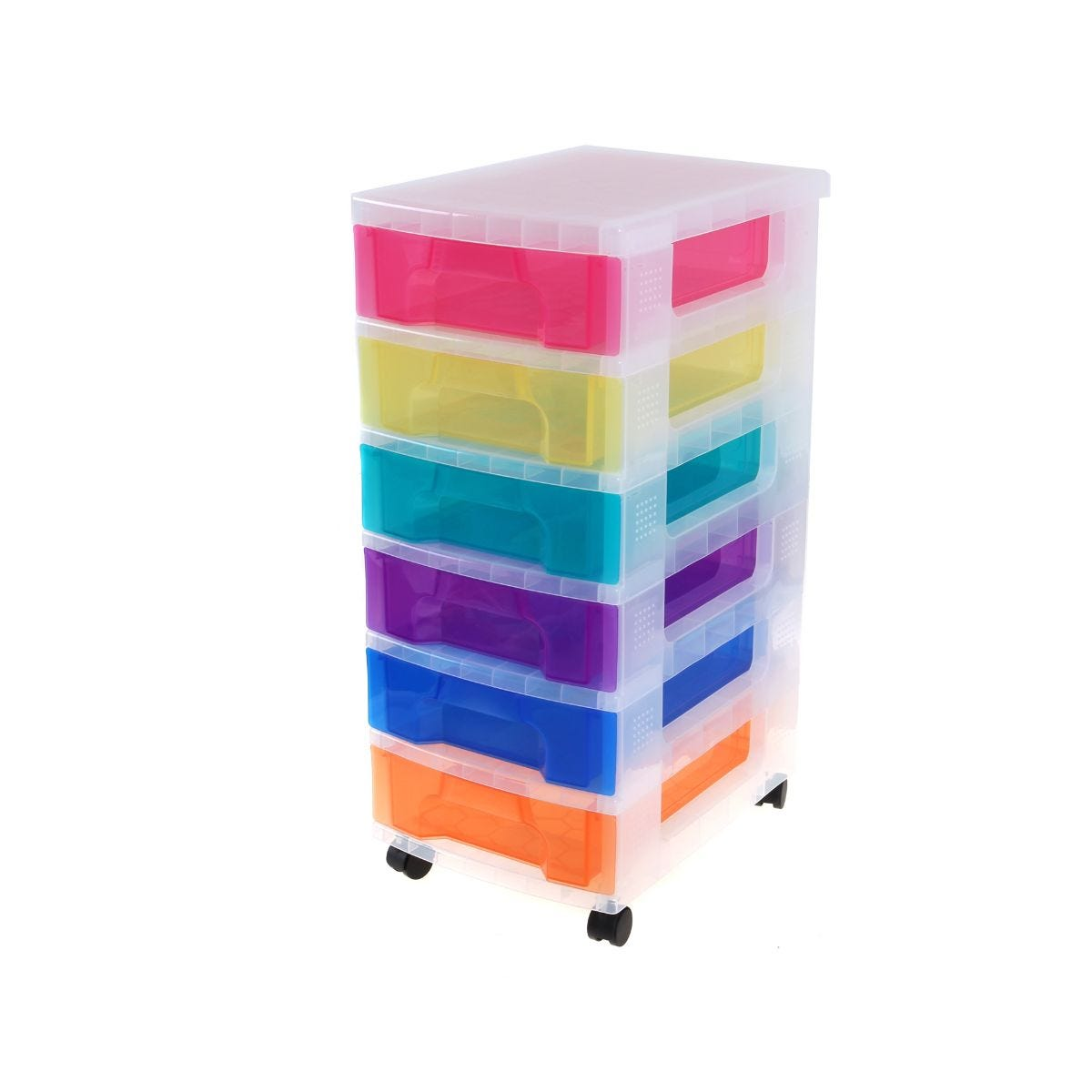 Office Supplies Really Useful Drawer Storage Unit 6X7 Litre Clear/Rainbow, Clear/Rainbow