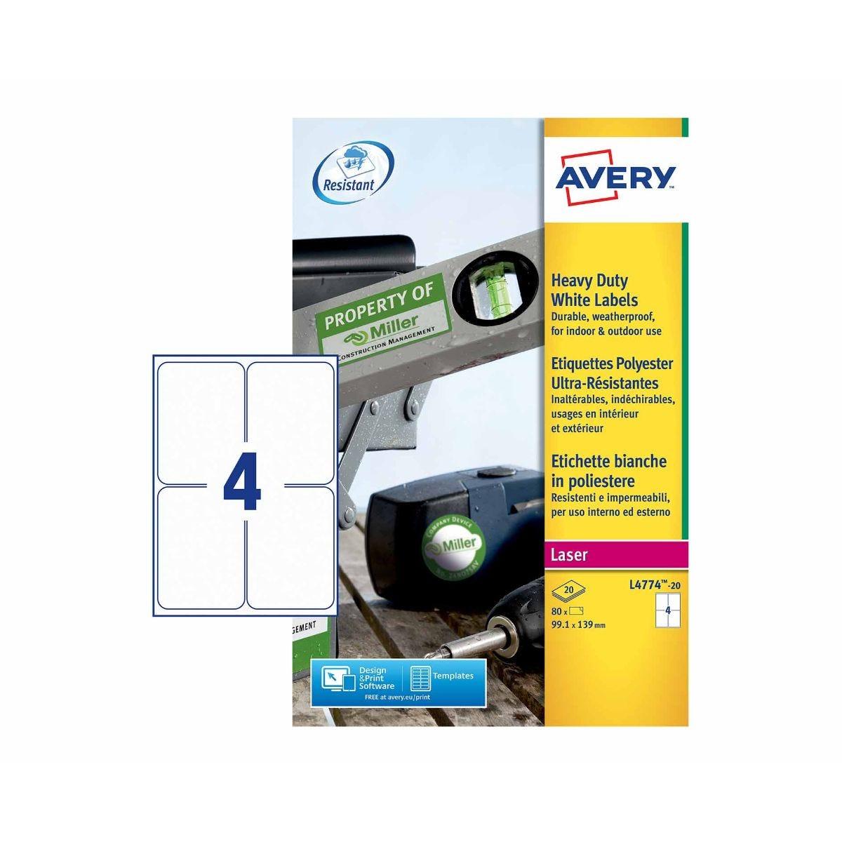 Avery Heavy Duty White Laser 80 Labels 99 1 x 139 mm
