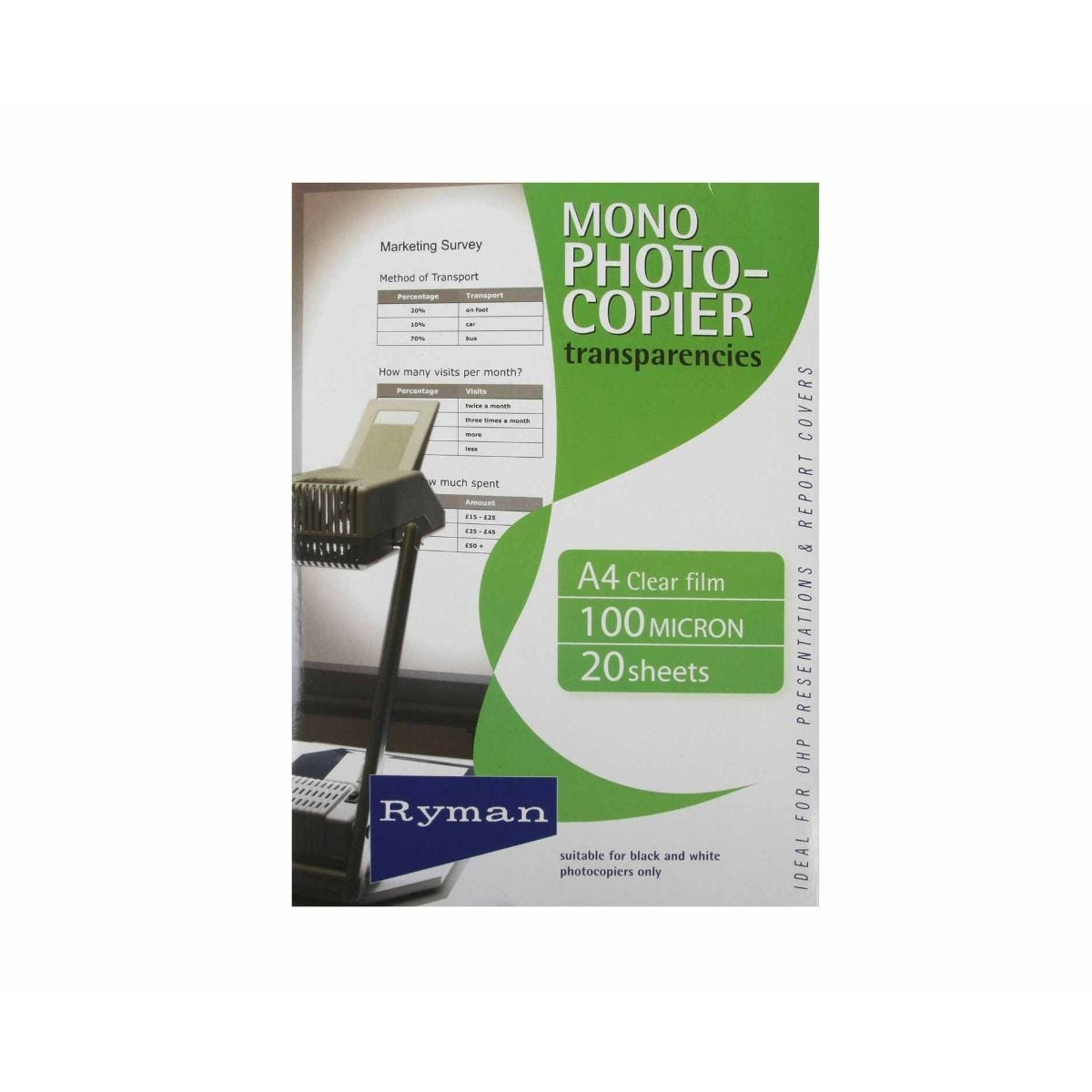 Office Supplies Ryman OHP Transparency Film A4 Mono 100 Micron 20 Sheets, Clear