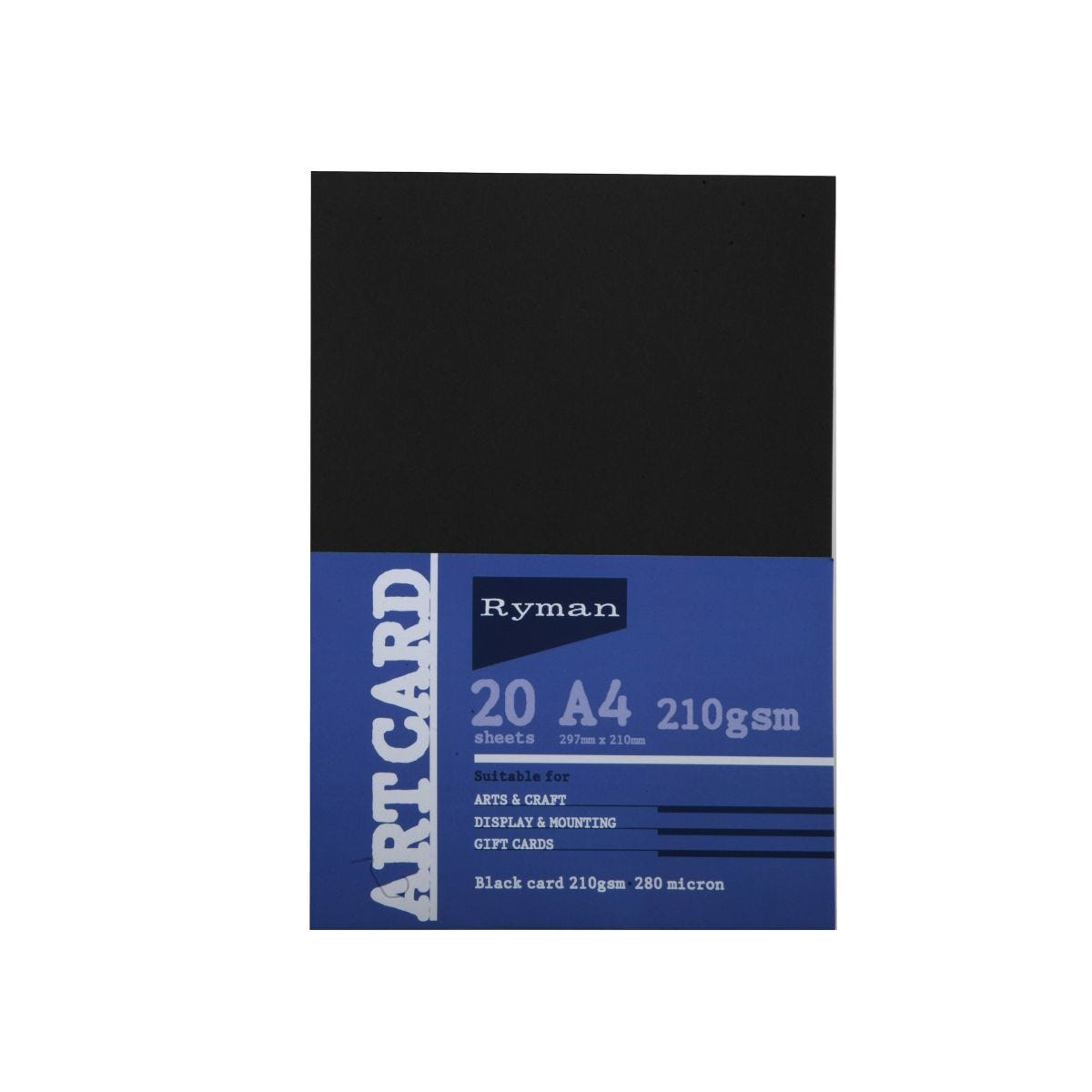Ryman Art Card A4 210gsm 20 Sheets, Black