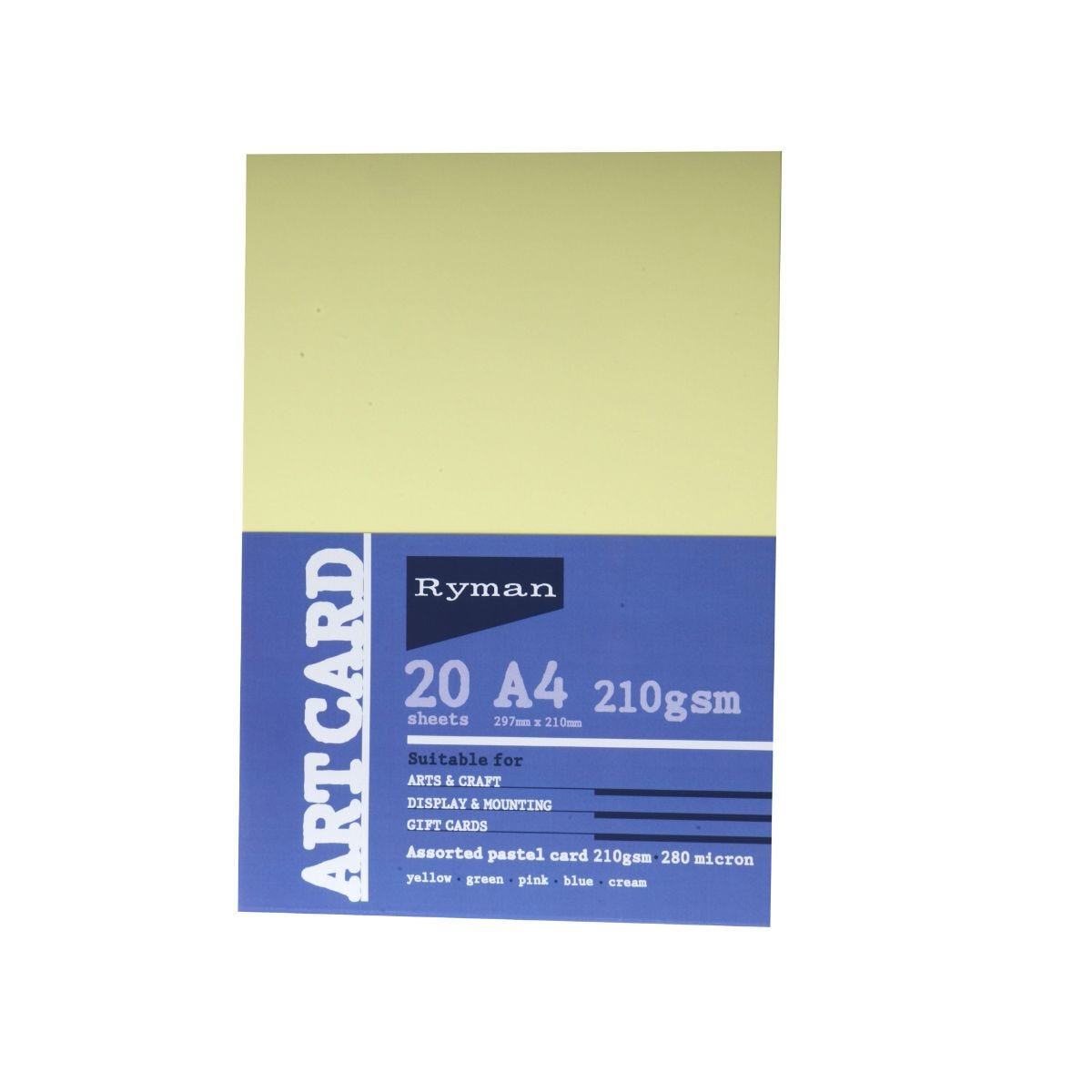 Ryman Art Card A4 210gsm 20 Sheets, Pastel