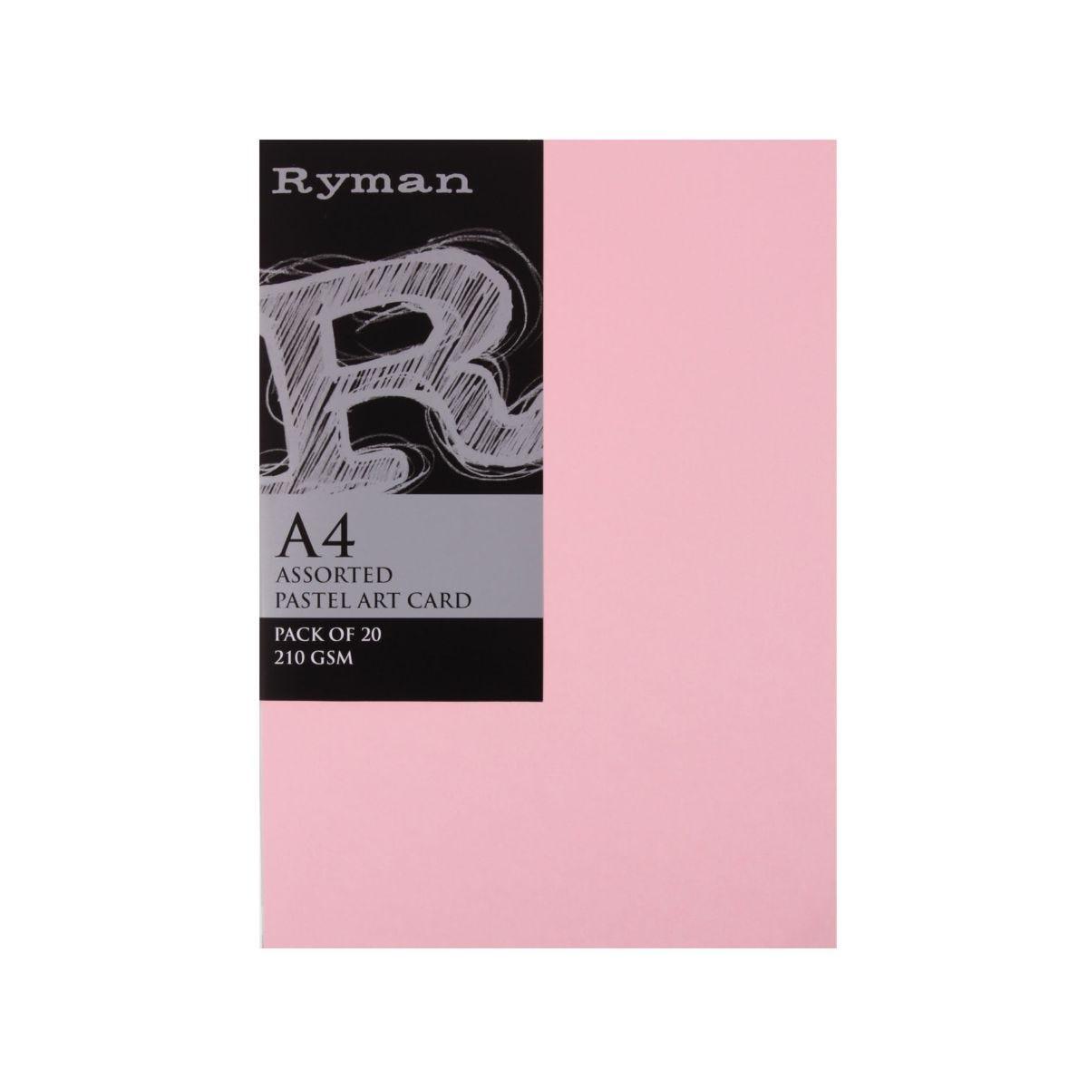 Ryman Artcard A4 210gsm Pack 20, Pastel