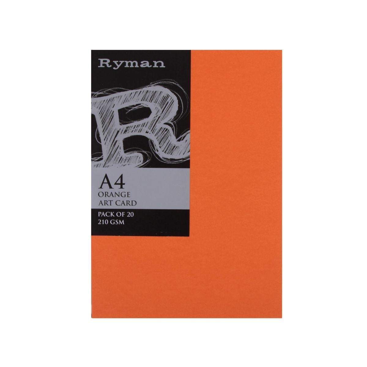 Ryman Artcard A4 210gsm Pack of 20, Orange