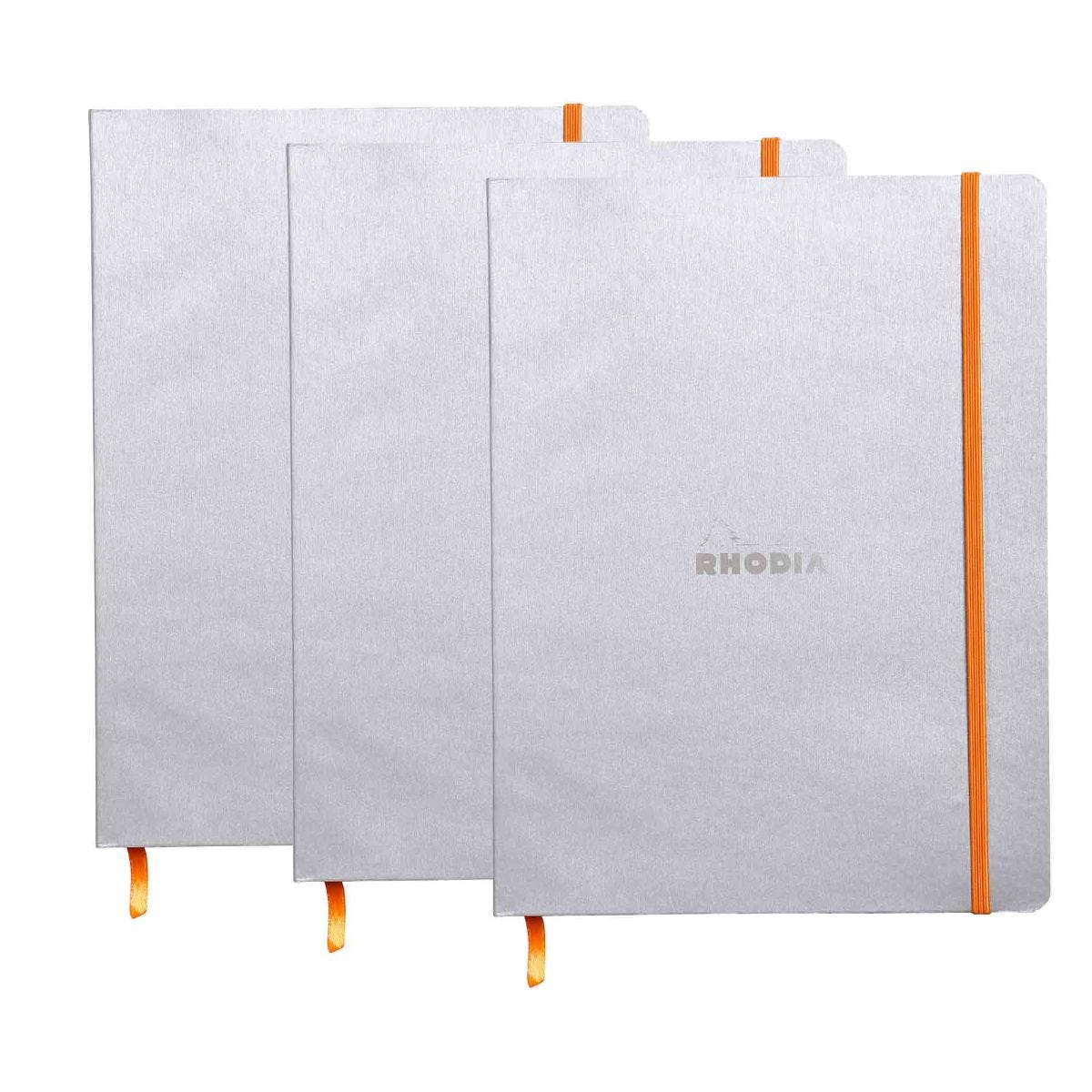 Rhodiarama B5 Ruled Notebook Pack of 3, Silver