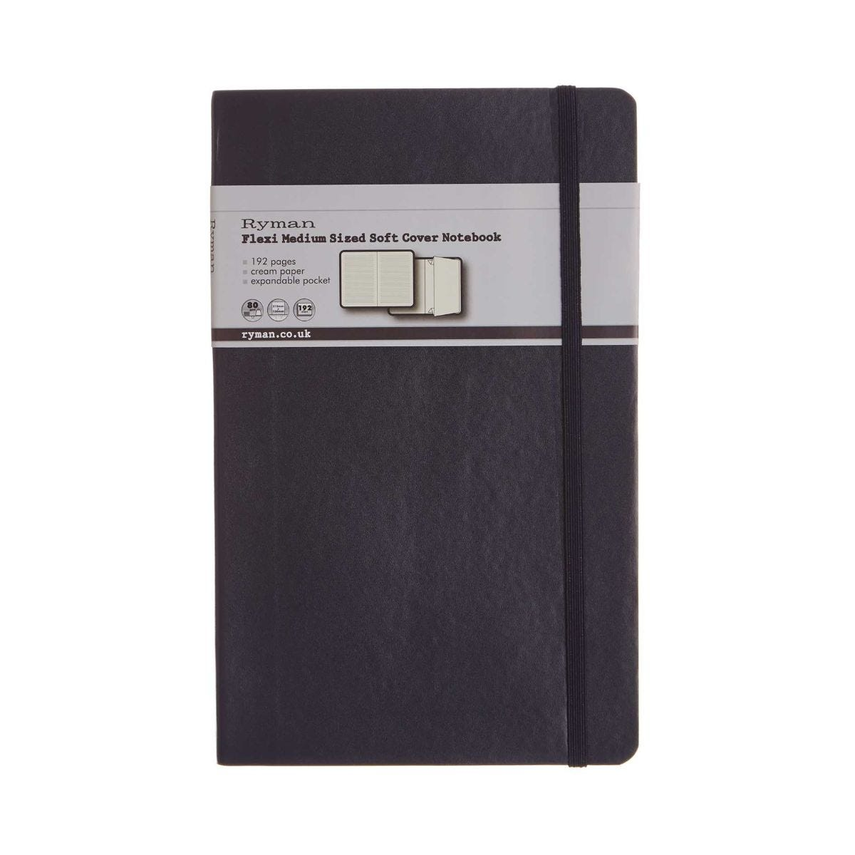 Ryman Flexi Soft Cover Notebook Medium 192 Pages, Navy