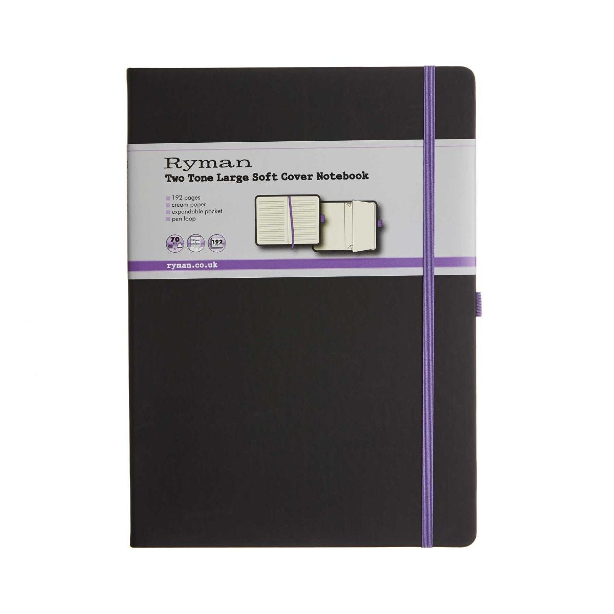 Ryman SoftCover Notebook Large Ruled 192 Page, Black/Purple.