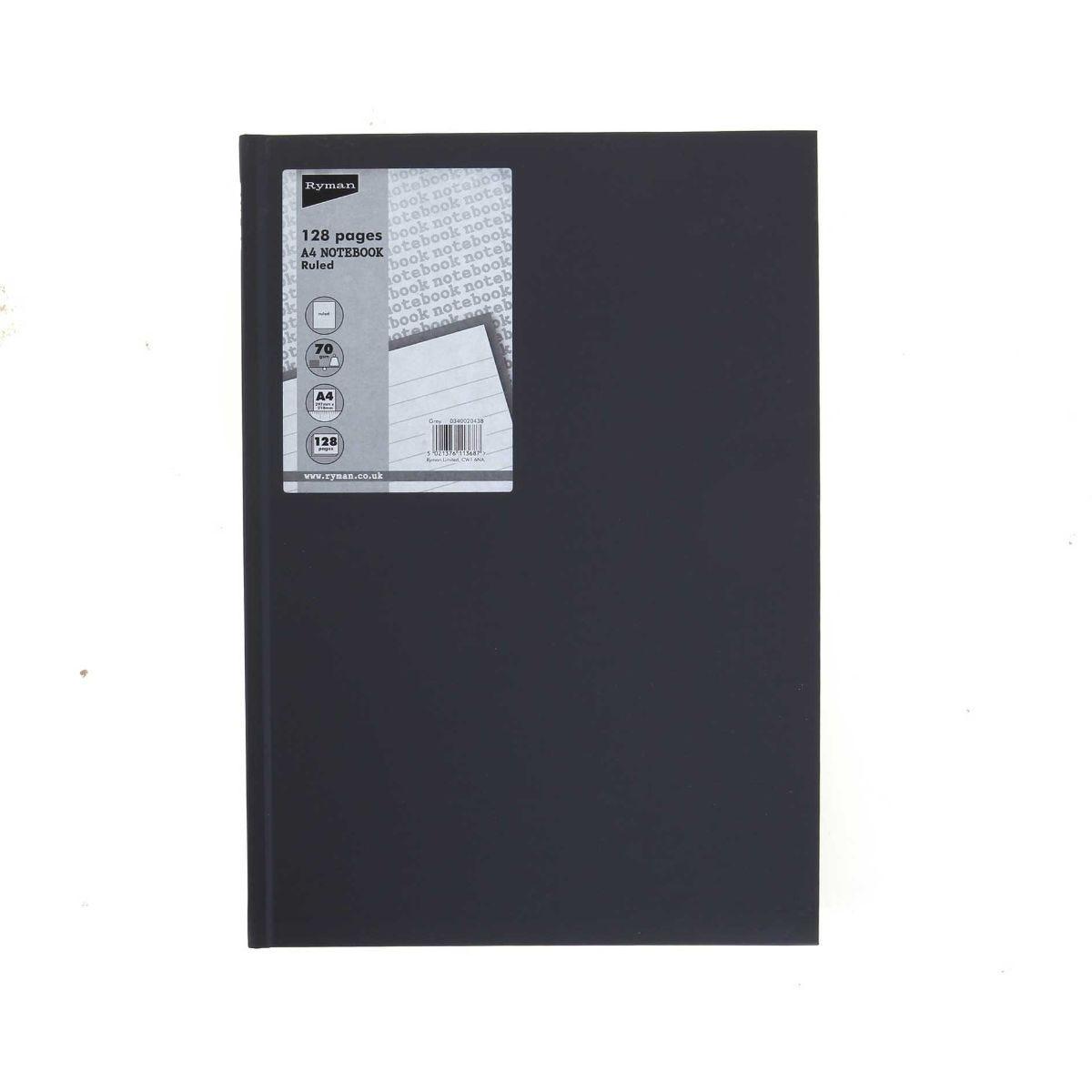 Ryman Casebound Notebook A4 128 Page 70gsm, Grey.
