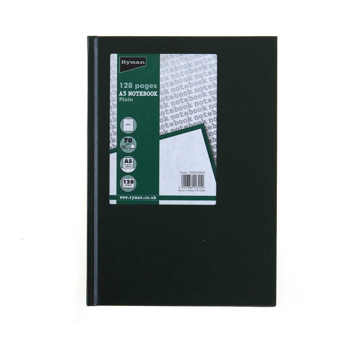 Ryman Case bound Memo Book Plain A5 128 Pages 70gsm, Green.