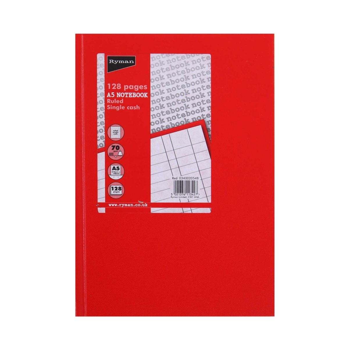 Ryman Case Bound Memo Book Single Cash A5 128 Pages 70gsm, Red