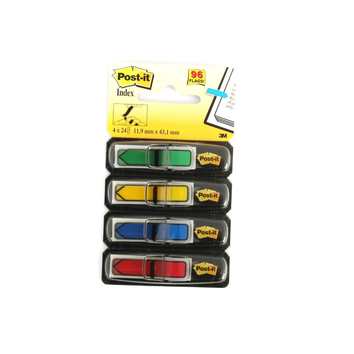Image of 3M Post-It Index 43x12mm Pack of 4, Assorted