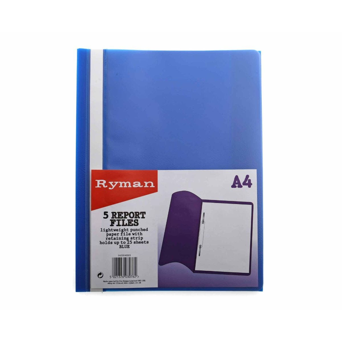 Ryman Report File A4 Pack of 5, Blue