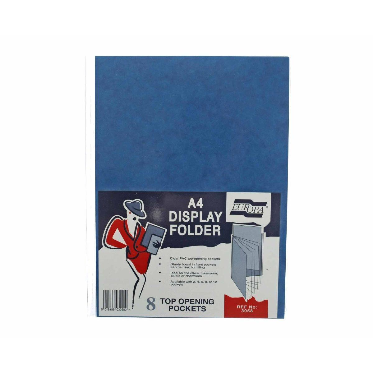Office Supplies Europa Display Folder A4 8 Pockets, Blue