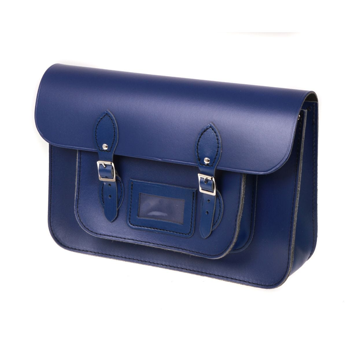 39d3a017767 British Made Recycled Leather Satchel, Blue