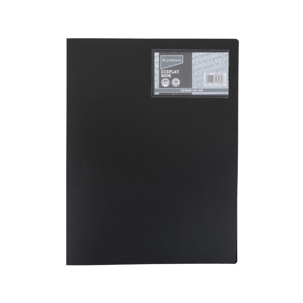 Ryman Display Book A4 20 Pocket, Black