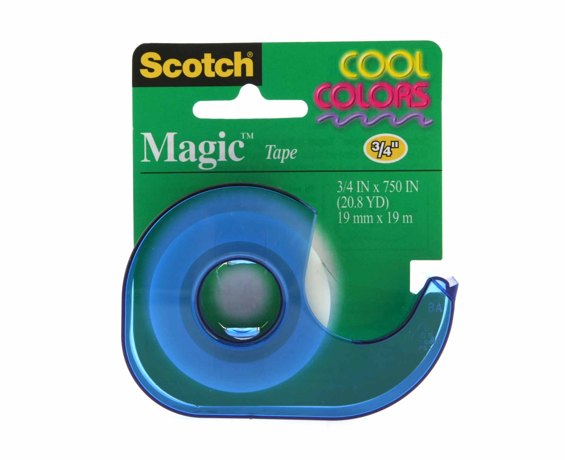Image of 3M Scotch Magic Tape 19mm x 19m with Coloured Dispenser, Cool Color