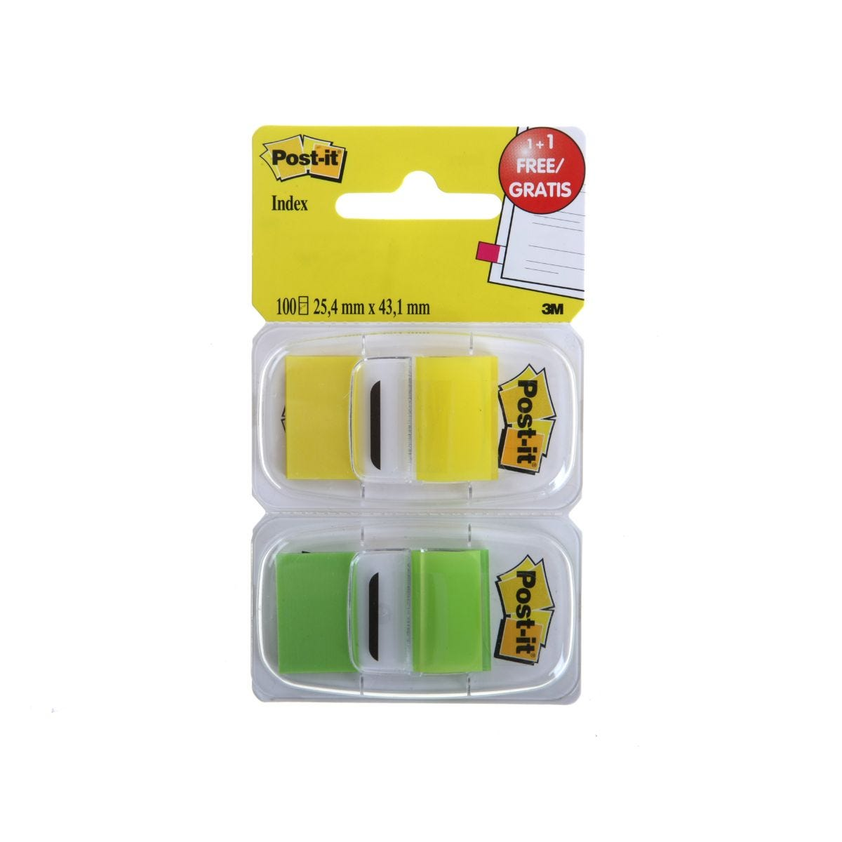 Image of 3M Post It Tape Flags 43x25mm 100 Sheets, Yellow/Green