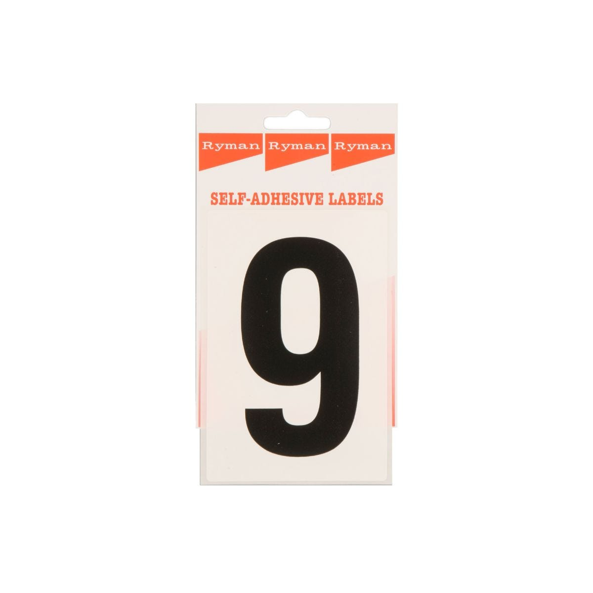Ryman Self Adhesive Labels Number 9 Single Pack, Black  White