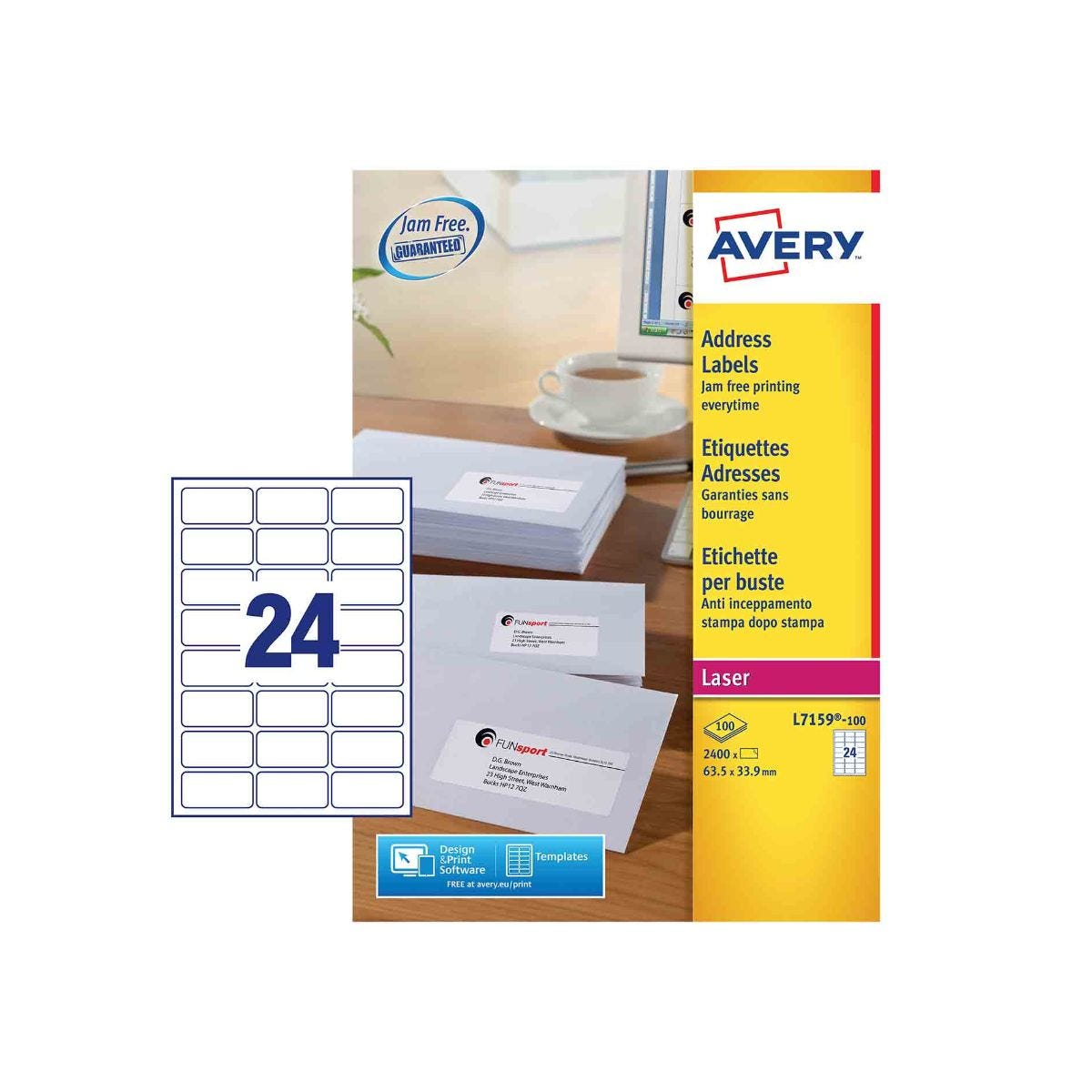 Click to view product details and reviews for Avery Laser Labels 635x339mm 24 Per Sheet 100 Sheets L7159.