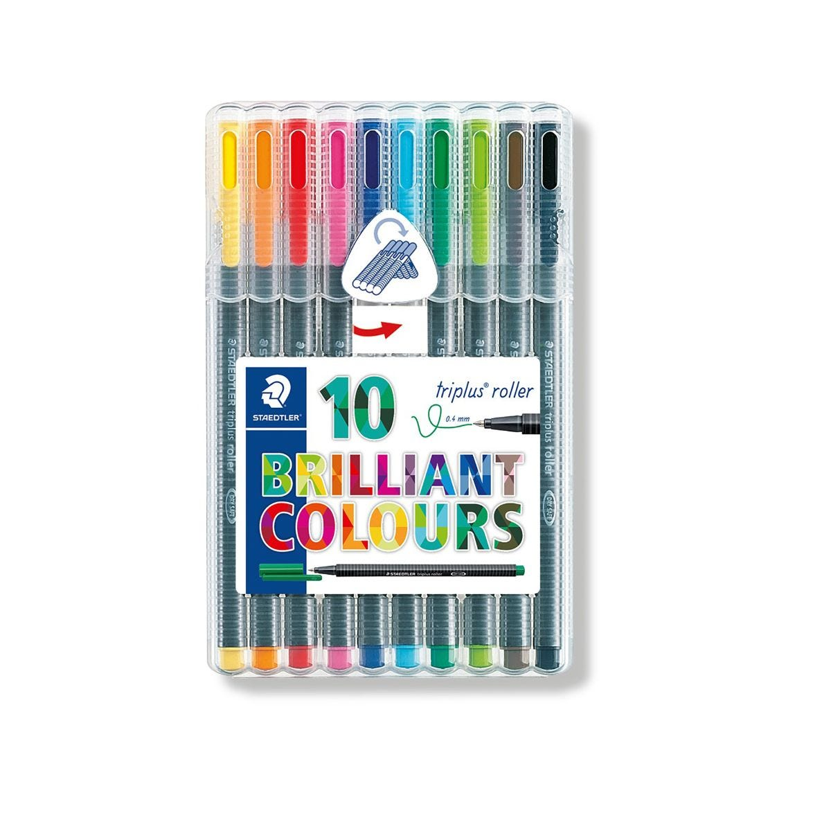 Staedtler Triplus Rollerball Pens Pack of 10 Assorted Colours, Assorted