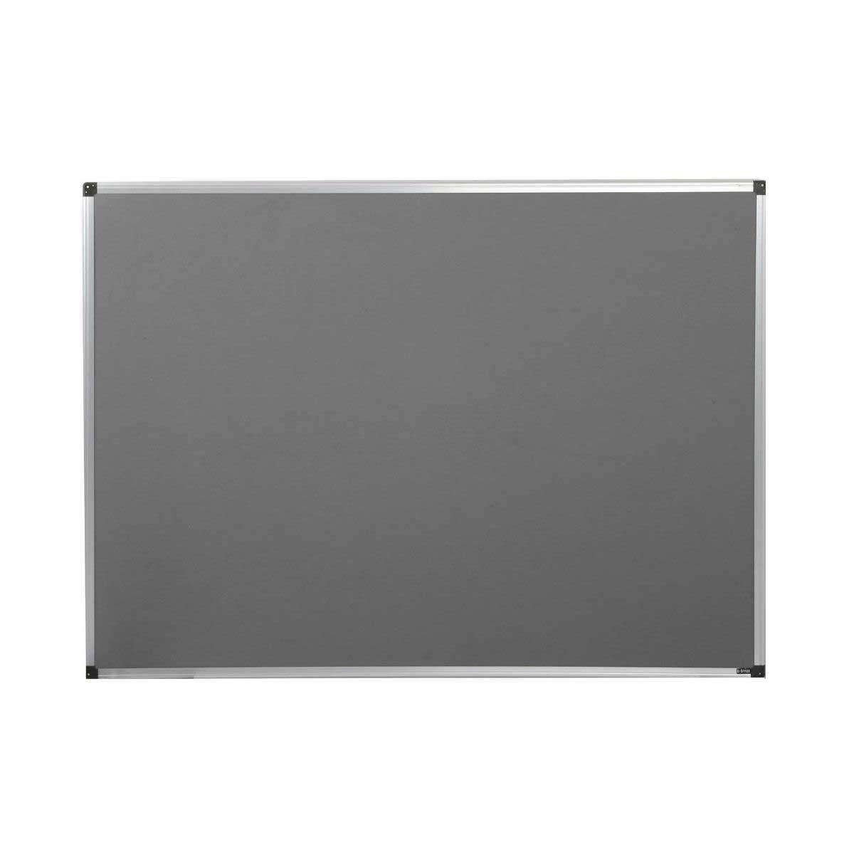 metroplan felt notice board 1200x900mm aluminium, grey
