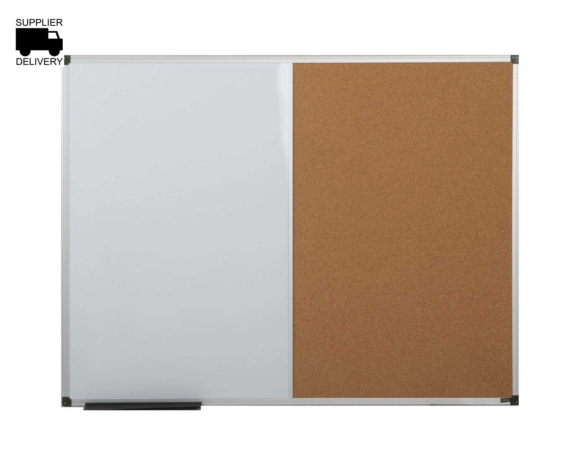 bi-office cork and magnetic dry wipe combination notice board 1200x900mm aluminium