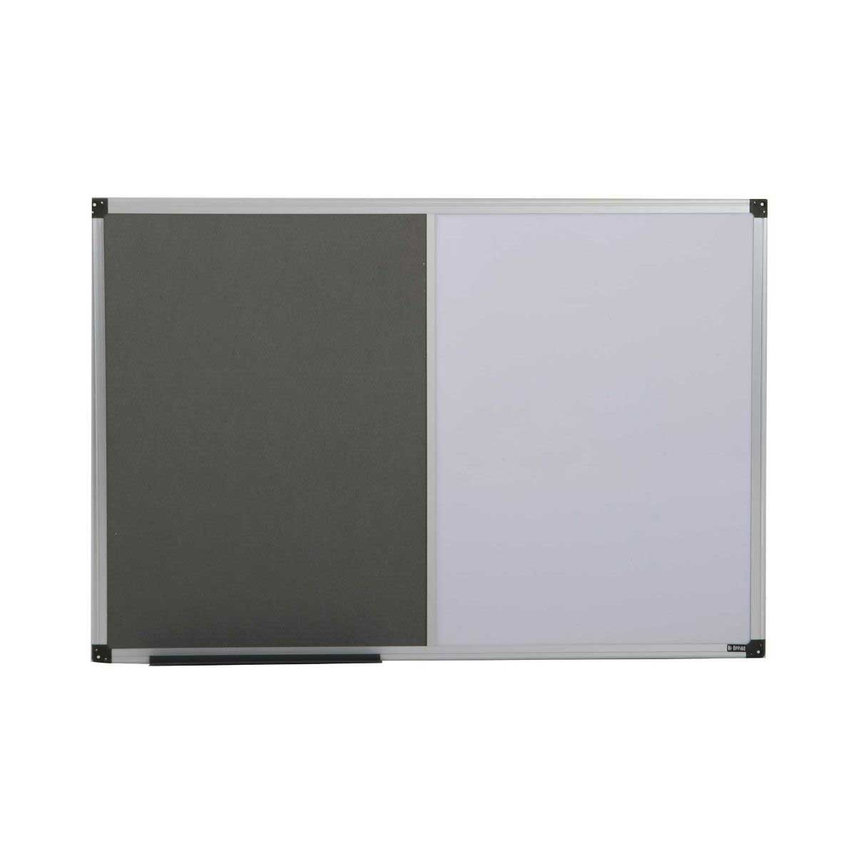 bi-office grey felt and magnetic dry wipe combination notice board 900x600mm aluminium, grey