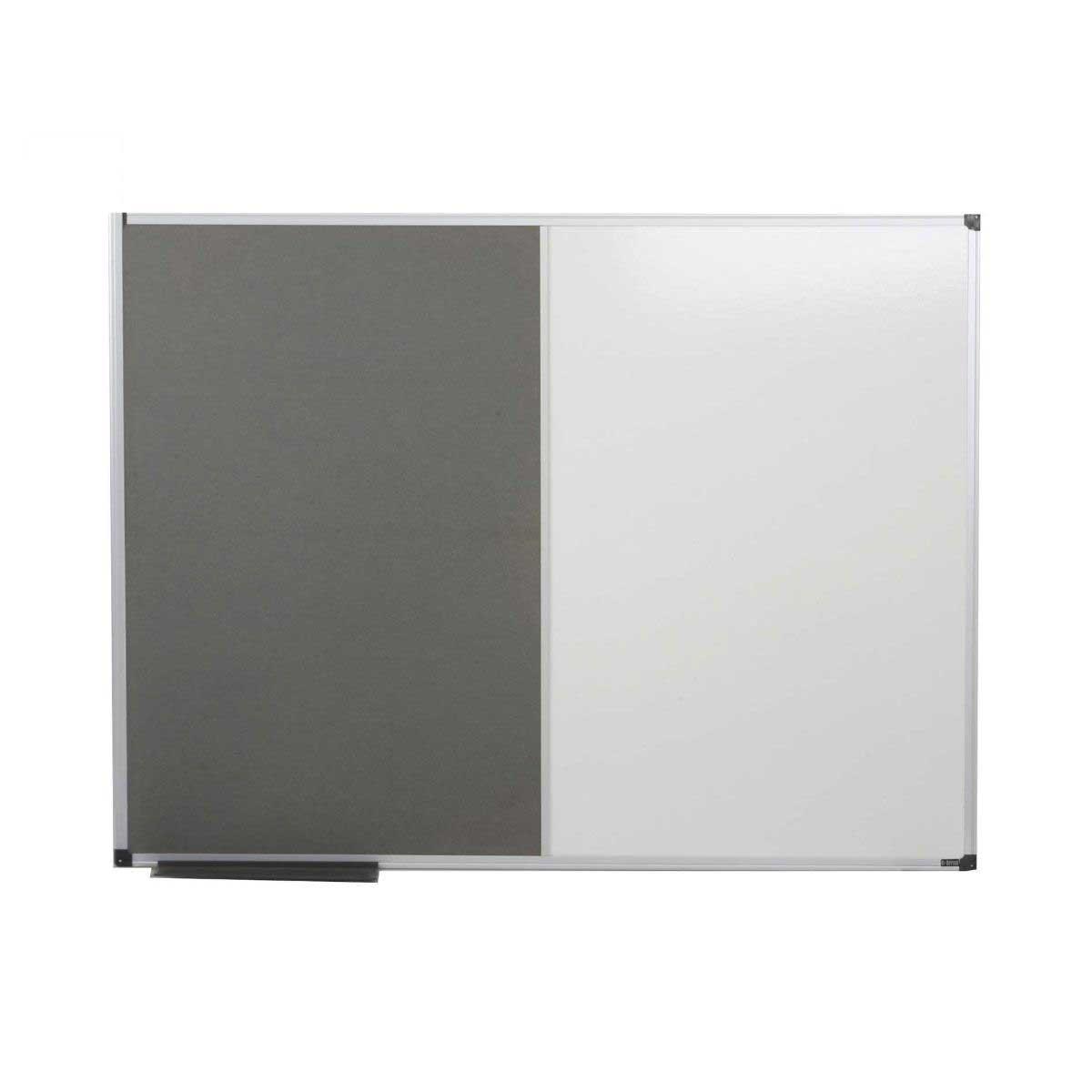 Bi-Office Grey Felt Dry Wipe Combination Notice Board 1200x900mm Aluminium.
