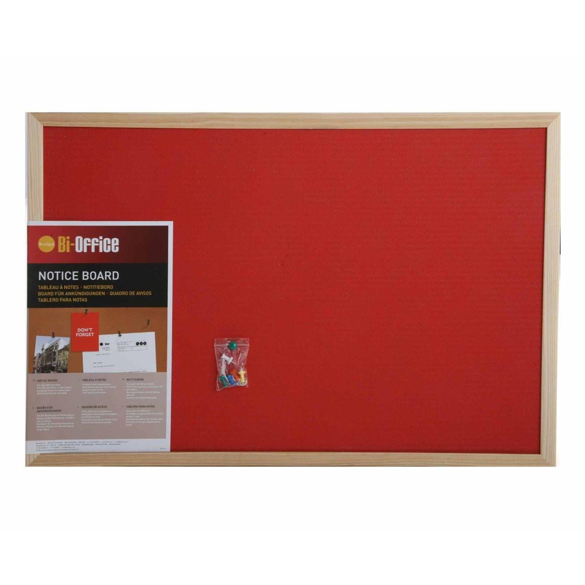 bisilque felt notice board 600x400mm, red