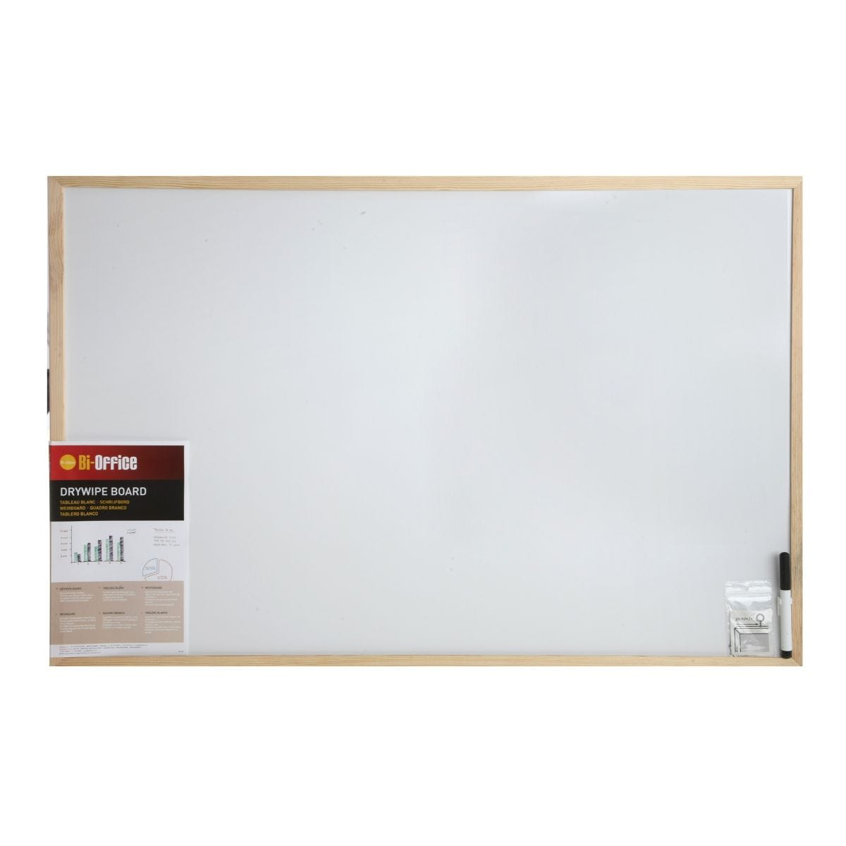 dry wipe board with pen 900x600mm, white