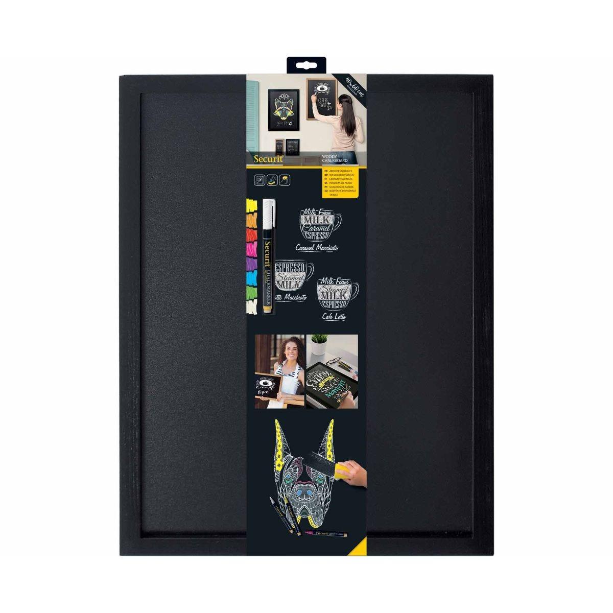 securit wall board woody chalkboard 40 x 60cm, black
