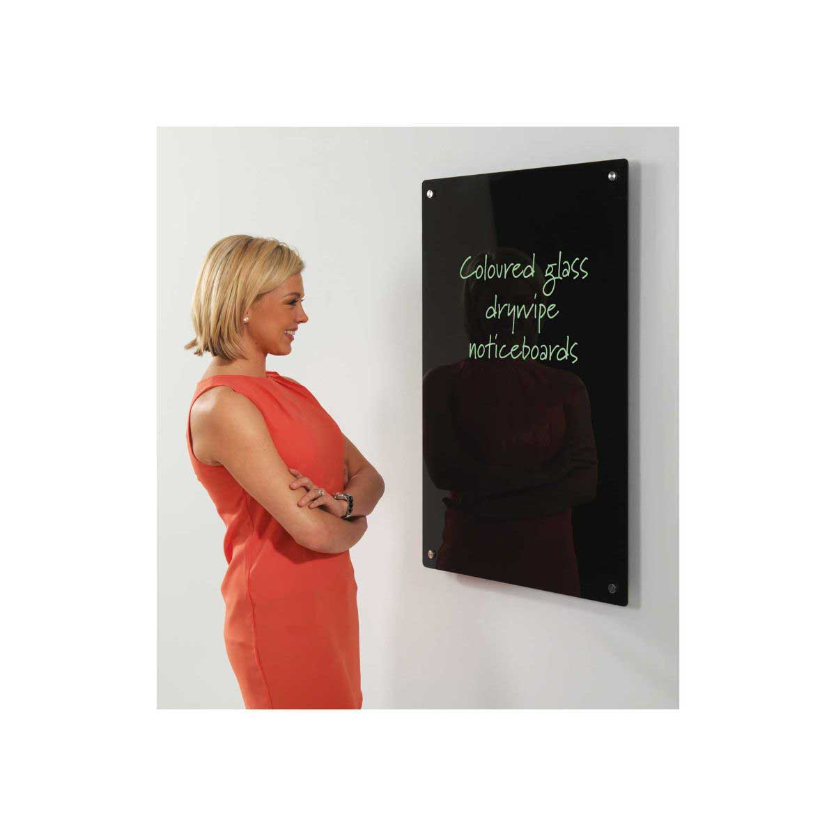 write-on glass whiteboards magnetic 600x900mm, black